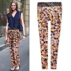 Harem pants floral pants Thin Oversize Loose Pants Skinny