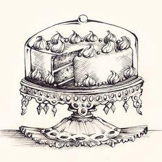Cake Tray Drawing - Original Pen and Ink Artwork By Madeleine Bellwoar
