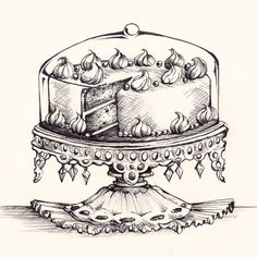 Cake Tray Drawing - Original Pen and Ink Artwork By Madeleine Bellwoar