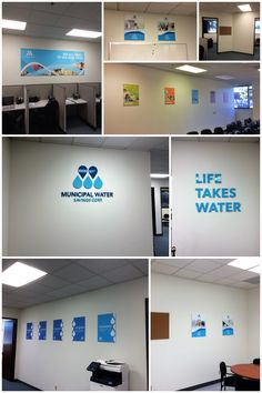 We made two signs for Municipal Water Savings Corp., and helped them install some posters around the office while we were installing our signs. Office Signage, Branding, Save Water, Cubicle, Office Interiors, The Office, High Quality Images, Indoor, Posters