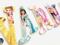 Personalized Wooden Wall Letters for Nurseries by AllysCustomArt, $13.00Personalized Wooden Wall Letters for Nurseries and Kids Rooms - Disney Princess Theme with Embellishments and Rhinestones Frozen, Cinderella
