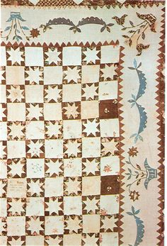 "Quilt embroidered ""H Warner Thompson collection We don't have many surviving quilts with dates before 1820 inscribed upon them. Old Quilts, Star Quilts, Antique Quilts, Vintage Quilts, Quilt Patterns, Applique, Quilt Studio, Blanket, Stars"