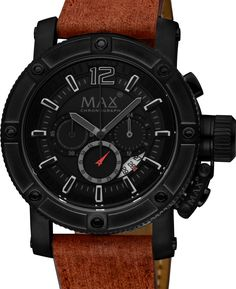 Robust XXL chronograph with black carbonized steel case and brown leather strap. www.megawatchoutlet.com