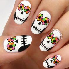 inspiring nail arts cali nails Nail skull nail art clear nails plus grey acrylic nails