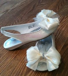 Image detail for -Ivory Peep Toe Rhinestone Sequined Flower Girl Shoes