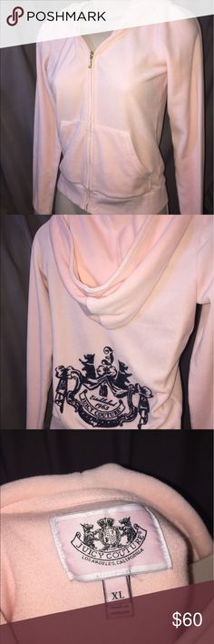 Juicy Couture Pink Hoodie. Size XL Petite This is a very cute authentic Juicy hoodie. Only wore twice. Almost new condition.  Is an XL Petite. Can also fit a XS women's. Juicy Couture Sweaters
