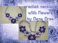 Crochet Necklace Video ~W~ Crochet Collar, Knit Crochet, Crochet Bracelet, Crochet Earrings, Necklace Tutorial, Diy Necklace, Collar Necklace, Flower Necklace, Diy Accessoires