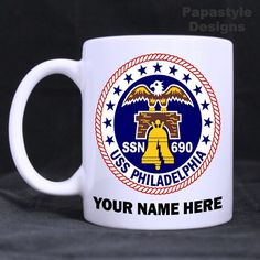 USS Philadelphia SSN 690 Personalized 11oz Coffee Mugs Made in the USA. #Handmade