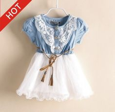 Top Girls Dress Children's Clothes Voile Short Sleeve Dress Baby Girls Clothing Set Wholesale Baby Girls Clothes Retail AA888 Specifics Department Name Children Gender Girls is_customized Yes Brand Na