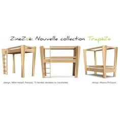 Lit mezzanine évolutif Trapèze. Design et made in France