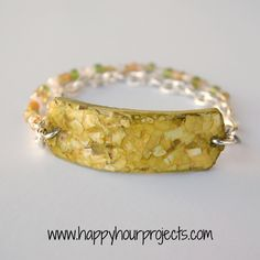 Eggshell Mosaic Bracelet Tutorial(polymer clay base, Mod Podge Dimensional Magic, and alcohol ink)