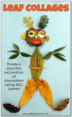 Leaf collages: Create a colorful collection of characters using fall leaves with this open-ended art project for kids || Gift of Curiosity