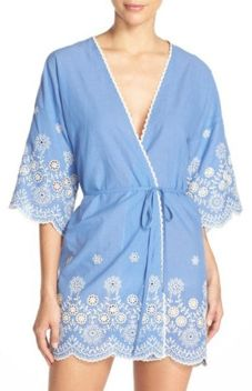 At the end of a long summer day, you'll be happy to luxuriate in this embroidered robe from In Bloom by Jonquil.