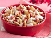 Valentine chex mix...made this last year for a bake sale at work. Tasty :)