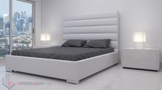 Beverly Bed White -  Super Sleek Modern Bed for Contemporary Apartments and Houses. South Beach Modern Furniture www.xpressbeds.com Contemporary Apartment, Modern Bedroom Furniture, White Bedding, Platform Bed, South Beach, Apartments, Houses, Home Decor, White Linen Bed