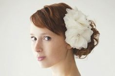 wedding feather hair piece | photo of multi bloom feather flower wedding hair piece