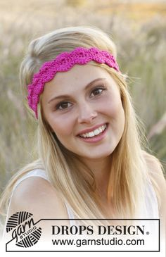 """Crochet DROPS hair band in """"Muskat"""". ~ DROPS Design..I love headband patterns because they make a great foundation for bracelets and/or necklaces! Free pattern!"""