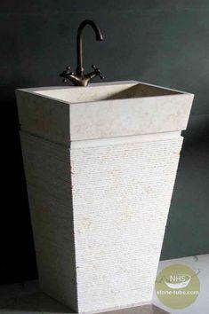 Beige marble pedestal sink is good choice for pedestal vanity sink.