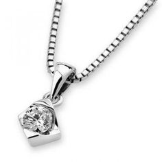 18K White Gold Rhombus Solitaire Diamond Pendant (3/20 cttw) (FREE 925 Silver Box Chain)