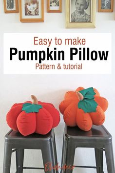 Have fun making this fall throw pillow. Get the sewing tutorial and the pattern to make a DIY pumpkin shaped pillow. It's the perfect cute and cozy decoration for Fall, Thanksgiving, and Halloween. Let's sew! #diy #pattern #pillows Pumpkin Pillows, Diy Pumpkin, Easy Sewing Projects, Sewing Tutorials, Diy Projects, Diy Home Accessories, Halloween Pillows, Diy Home Repair, Diy Porch