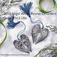 Avon 2016 Angel Wings Pewter Ornament - Continue the annual tradition of collecting Avon's pewter ornaments with this year's new addition. Blue faux stones. Comes in a navy velvet-like pouch! $9.99 https://www.avon.com/product/2016-angel-wings-pewter-ornament-56942?rep=dgari #avon #angel #pewter #ornament #holiday