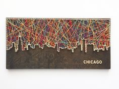Chicago Skyline String Art – Chicago Skyline – Chicago Art Chicago Skyline String Art by CactusCustomDesigns on Etsy – Glitzernde Nägel Skyline Von Chicago, Chicago Art, Chicago Illinois, Jacobean Stain, Do It Yourself Quotes, String Art Diy, Cuadros Diy, Diy And Crafts, Pallet Furniture