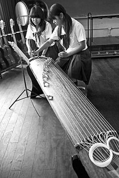 The Koto 箏 is the national instrument of Japan. Koto are about 180 centimetres (71 in) length, and made from kiri wood (Paulownia tomentosa). They have 13 strings that are strung over 13 movable bridges along the width of the instrument. S)