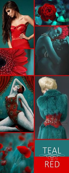 Teal and red