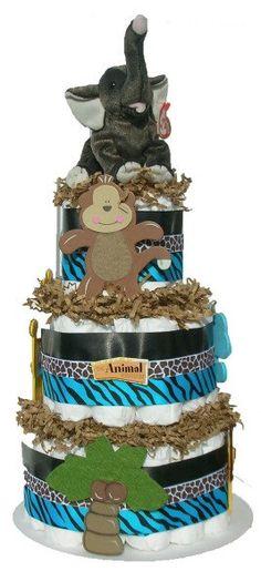 Jungle Safari Boy Baby Diaper Cake Shower by Youvegotmyword, $59.00