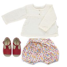 Poudre Organic Blouse with Liberty bloomers and handmade shoes.