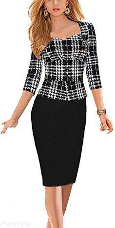 Viwenni Bodycon Stretch Long Sleeve Pencil Dress - So Classy !