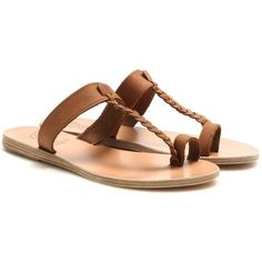 Ancient Greek Sandals Melpomeni Leather Sandals ($135) ❤ liked on Polyvore featuring shoes, sandals, flat sandals, flats, brown, brown leather shoes, leather shoes, leather flats and flat pump shoes