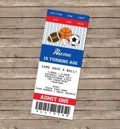 Sports Ticket Invitation & Printable All Star by SIMONEmadeit