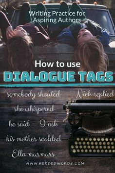 What is a dialogue tag? 'He said,' 'she whispered,' and 'the woman shouted' are all examples of dialogue tags. Learn about how to use dialogue tags, see how 3 bestsellers and 3 award-winners use dialogue tags and get practice exercises. Check it out now! Writing A Novel Tips, Writer Tips, Writing Notebook, Fiction Writing, Writing A Book, Writing Ideas, Writing Practice, Writing Help, Start Writing