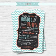 Baby Shower Invitation  Chalkboard  Twins  by PeaceLoveEtsy, $9.95