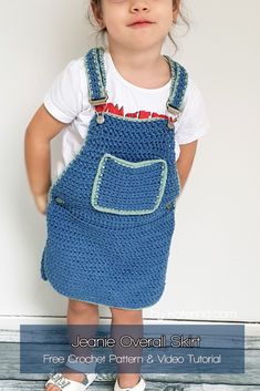 """""""Jeanie"""" overall skirt for girls from 1 to 10 years – ByKaterina - Overalls Crochet Girls Dress Pattern, Baby Girl Crochet, Crochet Baby Clothes, Crochet Flower Patterns, Cute Crochet, Crochet For Kids, Knit Crochet, Crochet Toddler Dress, Skirt Pattern Free"""