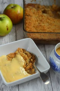This is a divine Apple Crumble recipe with just the best nubbly and crunchy crumble topping. It is a great dessert for feeding a crowd and can be made ahead and reheated for easy entertaining. Comfort Food Cuddle anyone? Make Ahead Desserts, Fall Dessert Recipes, Great Desserts, Fruit Recipes, Apple Recipes, Sweet Recipes, Delicious Desserts, Fall Recipes, Best Apple Crumble Recipe