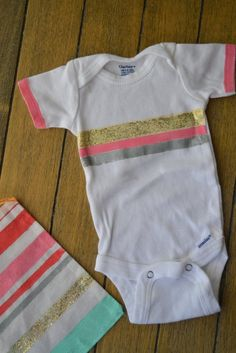 DIY Striped Baby Onesie and Gift Bag--quick and easy tutorial.