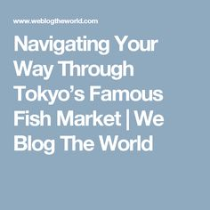Navigating Your Way Through Tokyo's Famous Fish Market | We Blog The World