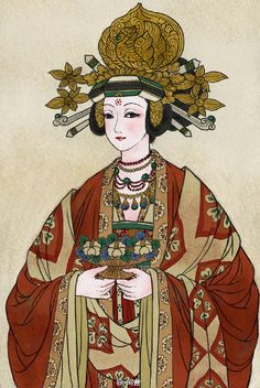 Traditional Chinese ladies' attire as depicted in the murals at Dunhuang Grottoes. Chinese Design, Chinese Art, Chinese Drawings, Historical Women, Traditional Chinese, Chinese Painting, Hanfu, Love Pictures, Illustrators