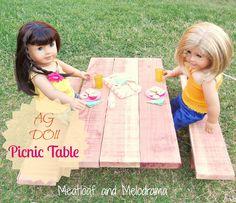 DIY American Doll Picnic Table