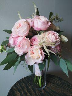Bridal Bouquet :: David Austin Pink Garden Roses, White Astilbe, White Ranunculus, & Seeded Eucalyptus  :: The Vines Flower & Garden Shop