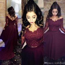 77dd1fd11ce2 Borgonha lace manga comprida prom vestidos longos até o chão formal vestidos  party dress custom made - alishoppbrasil