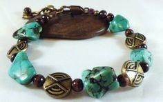 Blue Magnesitewood beadedand bronze bracelet by EarthMotherJewels, $22.00