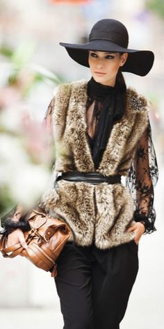 Warm Street style chic/ karen cox.  The fur the lace the hat