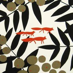 Scandinavian Fabric 70s Vtg Retro Design Fabric Fox DIY Cushion Almedahls | eBay