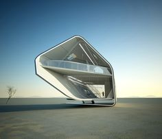The California Roll House is an interesting futuristic concept design by Christopher Daniel. The design is for a prefabricated home in a desert environment.