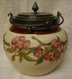 Beautiful Antique Porcelain Biscuit Jar w/ S.P. Lid