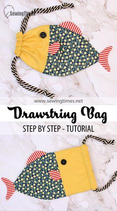Sewing Projects For Kids, Sewing For Kids, Baby Sewing, Sewing Crafts, Diy Gifts Sewing, Drawstring Bag Diy, Drawstring Bag Tutorials, Sewing To Sell, Diy Bags Purses