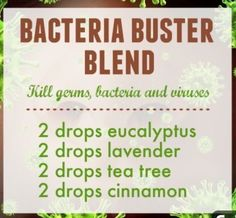 Bacteria Buster Blend Blend with carrier oil before using on skin. SEE COMMENTS for another blend and how to make sanitizing wipes. Essential Oil Diffuser Blends, Tea Tree Essential Oil, Stuffy Nose Essential Oils, Esential Oils, Diffuser Recipes, Living Oils, Doterra Essential Oils, Carrier Oils, Aging Cream